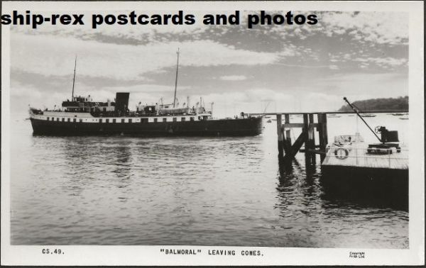 BALMORAL (1949a, Red Funnel) postcard (a)